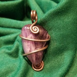 Jewelry - Amethyst Wire Wrapped Stone Pendant